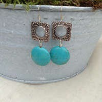 Turquoise Gemstone and Square Antiqued Silver Earrings