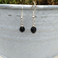 Jet Black Faceted  Crystal Earrings