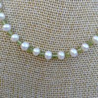 Peridot Gemstone and Freshwater Pearl Necklace   Gemstone Necklace