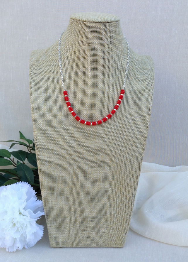 Red  Glass And Chain Necklace
