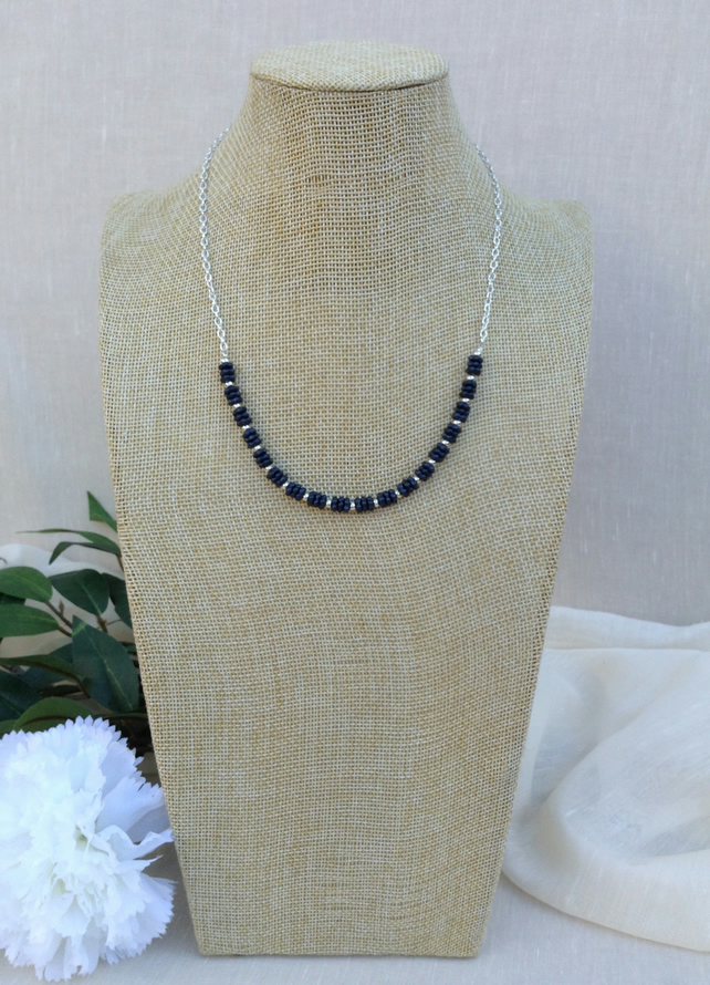 Matt Black  Glass And Chain Necklace