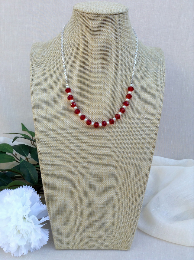 Red Crystal, White Pearl And Chain Necklace