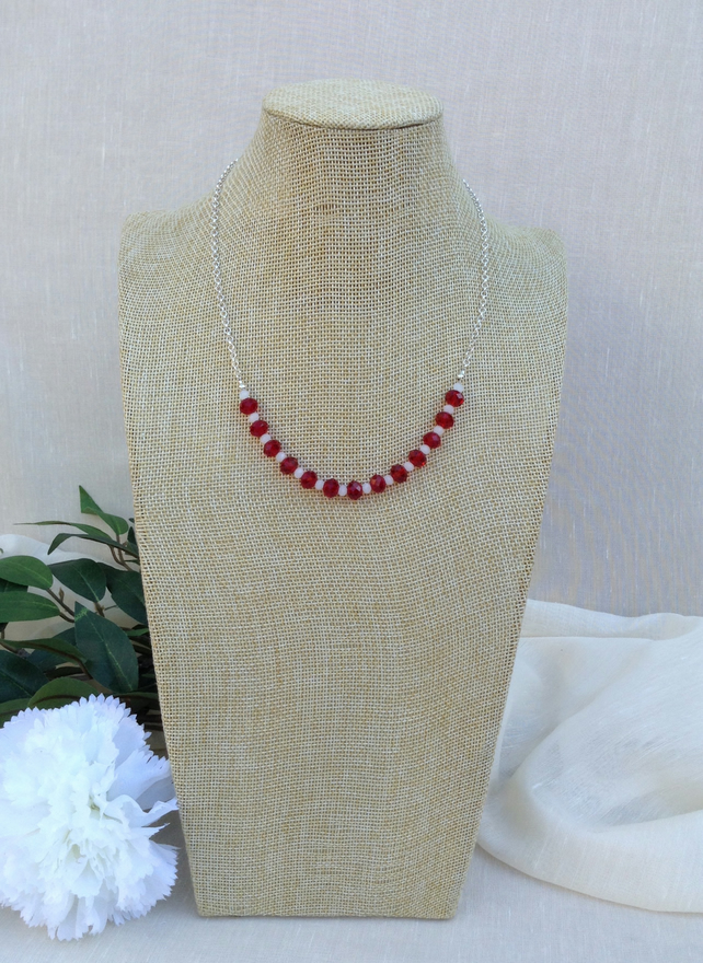 Red Crystal, White Crystal And Chain Necklace