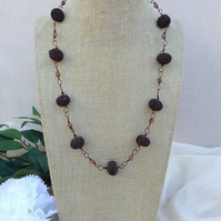 Chocolate Brown Lava Gemstone Wire Wrapped Necklace. Longer Length Necklace