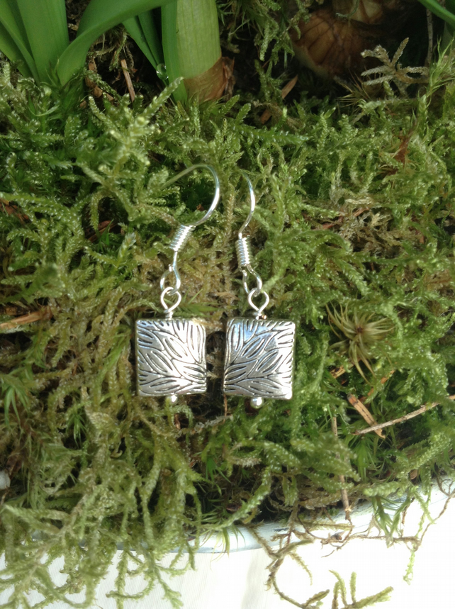 Rainforest Pattern Silver Square Earrings