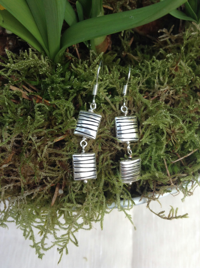 Silver Horizontal Patterned Square Earrings. Dangle Earrings