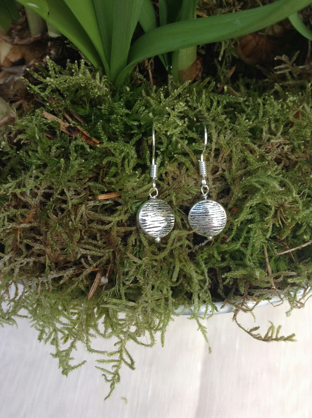 Patterned Silver Coin Earrings