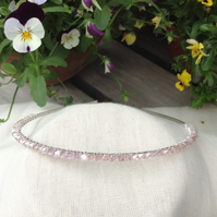 Pale Pink Crystal Tiara.   Bridesmaids Hairband. Flower Girl Hairband