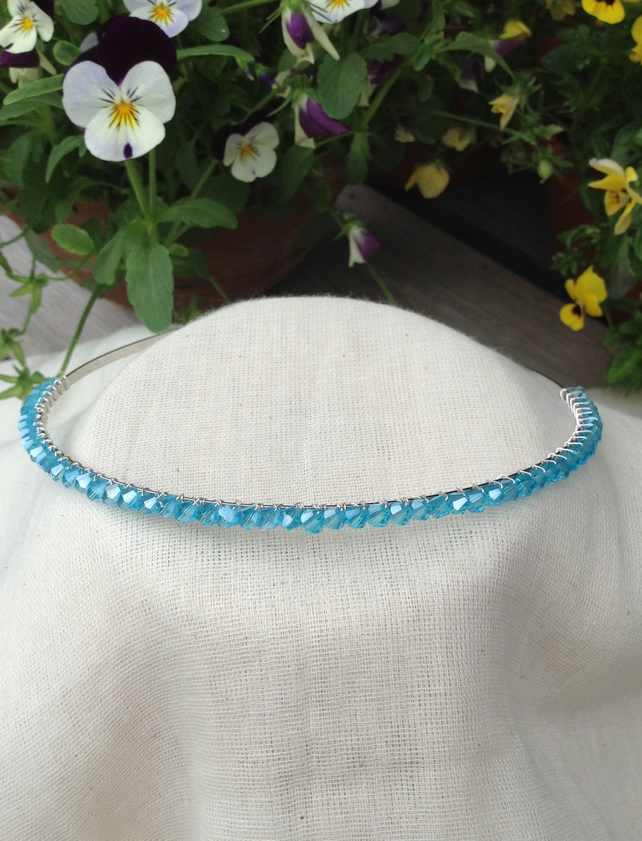 Aqua Crystal Tiara.   Crystal Hairband