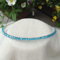 Aqua Crystal Tiara  Bridesmaids Hairband. Flower Girl Hairband.