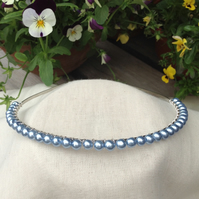 Powder Blue Pearl Tiara.  Blue  Tiara.  Bridesmaids Hairband