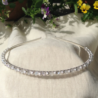 Crystal and Frosted Sparkle Tiara.  Bridesmaids Hairband. Flower Girl Hairband