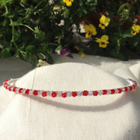 Sparkly Red and Clear Crystal Tiara.   Crystal Hairband
