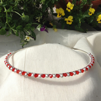 Sparkly Red and Silver Sparkle Tiara.   Crystal and Silver Hairband