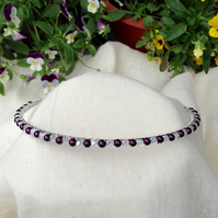 Aubergine Pearl and Crystal Tiara.   Purple and Silver Headband