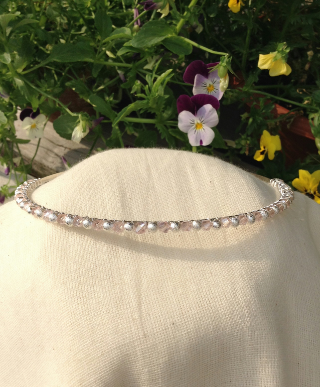 Pink Crystal and Silver Sparkle Tiara.   Crystal and Silver Hairband