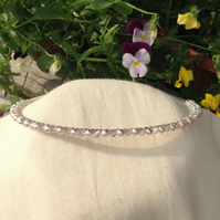 Pink Crystal and Silver Sparkle Tiara. Bridesmaids Hairband Flower Girl Hairband