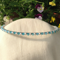 Aqua Crystal and Silver Sparkle  Tiara.   Crystal and Silver  Hairband