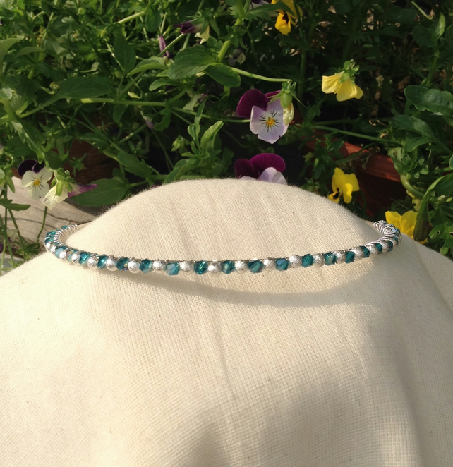 Teal Crystal and Silver Sparkle Tiara  Bridesmaids Hairband