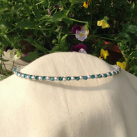 Teal Crystal and Silver Sparkle Tiara.   Crystal and Silver Hairband