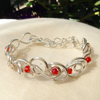 Red Crystal Wire Circle Bracelet.   Slim Cuff Bracelet  Adjustable Bracelet