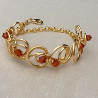 Amber  Crystal Gold  Circle Bracelet.   Narrow Cuff.   Adjustable Bracelet