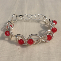 Red Crackle Crystal Wire Circle Bracelet.   Slim Cuff       Adjustable Bracelet