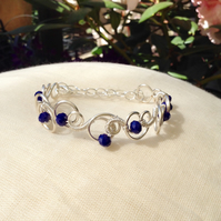 Royal Blue Crystal Circle Bracelet.   Narrow Cuff.   Adjustable Bracelet