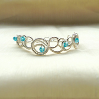Aqua  Blue Crystal Circle Bracelet.   Narrow Cuff.   Adjustable Bracelet