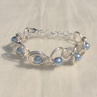 Powder Blue Pearl Circle  Bracelet.   Narrow Cuff.   Adjustable Bracelet