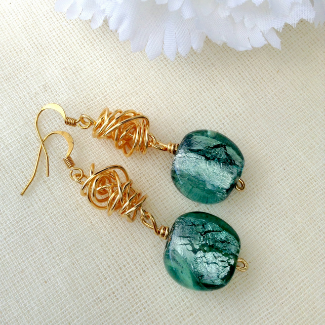 Chunky Seafoam Blue and Gold Twist Earrings