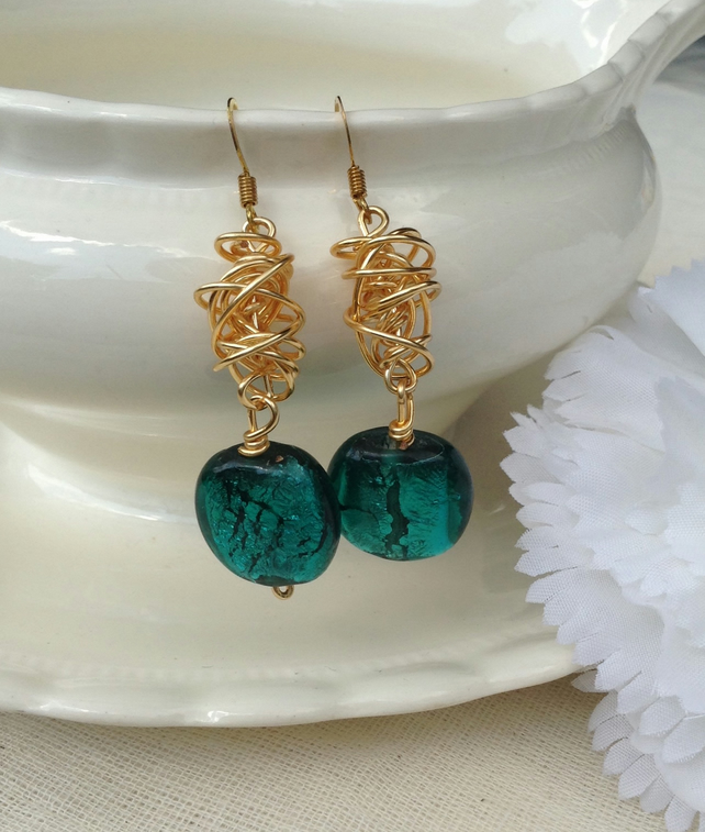 Chunky Teal Gold Twist Earrings