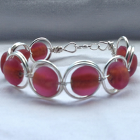 Watermelon Pink Silver Circle Cuff Bracelet.   Narrow Cuff