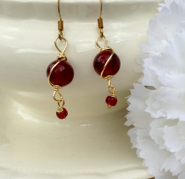 Red and Gold Wire Wrapped Earrings.     Dangle Earrings