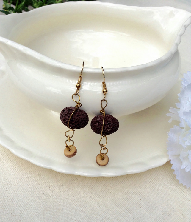 Chocolate Brown  Lava & Brass Wire Earrings