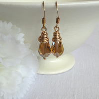 Amber Teardrop Crystal Earrings.