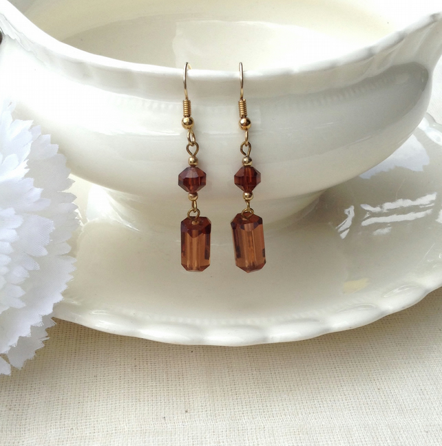 Dark Amber Crystal and Gold Dangle Earrings