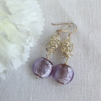 Chunky Silver Lined Lilac and Silver Twist Earrings    Statement Earrings