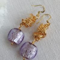Chunky Silver Lined Lilac and Gold Twist Earrings    Statement Earrings