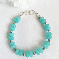 Sterling Silver & Aquamarine  Bracelet    March Birthstone