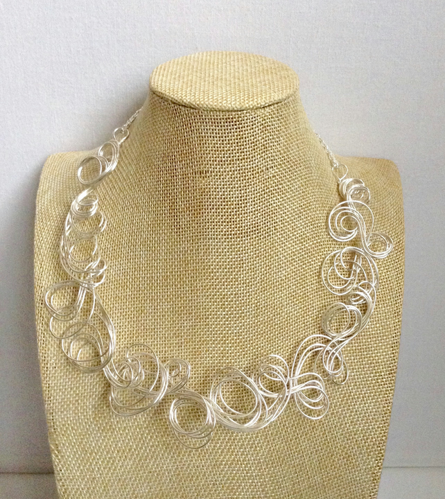 Silver Wire Swirl Necklace.   Handmade Silver Necklace.  Shorter Length Necklace