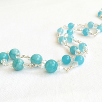 Aqua Jade and Crystal Necklace.   Sparkly Necklace.   Gemstone Necklace