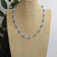 Pale Blue Jade and Crystal Necklace.   Sparkly Necklace.  Gemstone Necklace