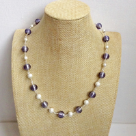 Lilac and Silver Sparkle Necklace.  Handmade Necklace