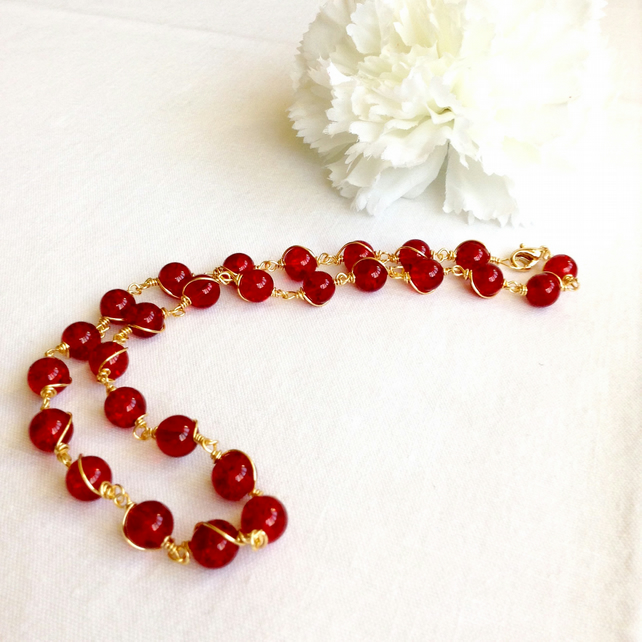 Red and Gold Spiral Necklace