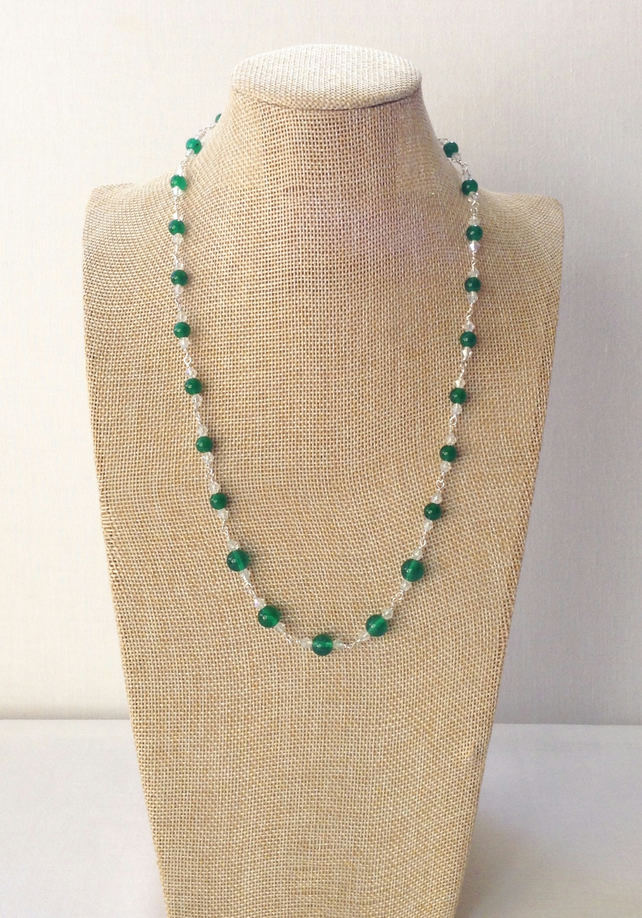 Green Jade and Crystal Necklace.   Sparkly Necklace.