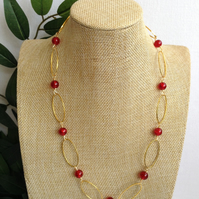 Red and Gold Oval Hoop Necklace.      Longer Length Necklace