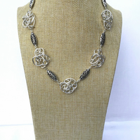 Freeform Silver Wire and Carved Hollow Oval Necklace. Chunky Statement Necklace