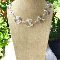 Graduated Silver Spiral Necklace.  Statement Necklace.   Shorter Length Necklace