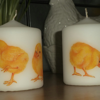 Decorated candle Easter Spring chicks napkin decoupage Standing Chick